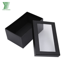 Black card paper wine packing bottle carrier custom logo box with PVC window