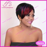 Free Shipping Cheap Reddish Highlight Short Human Hair Wigs For Black Women 100 Indian Hair Wigs