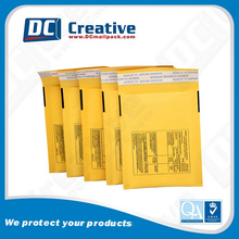Factory Wholesale Printed Gold Yellow Kraft Bubble Padded Envelopes