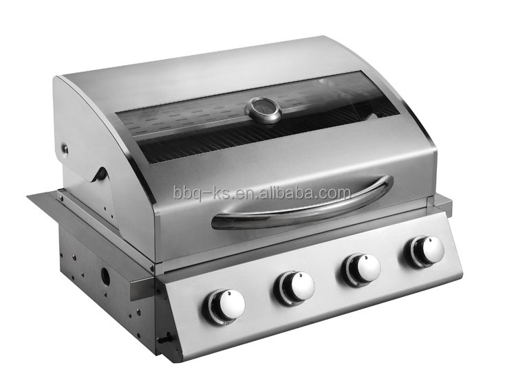 CE APPROVAL GAS 4 Burner BUILT IN BBQ WITH GLASS HOOD AND STAINLESS STEEL MATERIAL