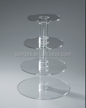 Plastic Wedding Cake Stand Acrylic Wedding Cupcake Stand,Clear Round 4Tiers Detachable Wedding Cupcake Stand