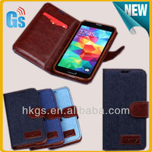 Bulk items for samsung galaxy s5 I9600 jean wallet leather phone case
