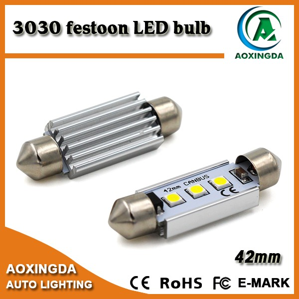 Car dome 3030 3W CANBUS festoon LED bulb light 31mm 36mm 39mm 41mm 42mm 3SMD