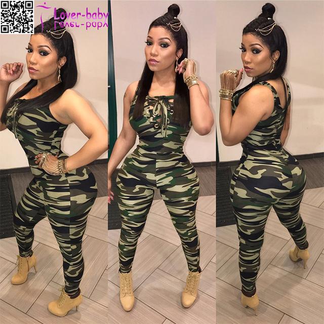 Sleeveless Camouflage Women jumpsuit fashion new design 2017 L55293