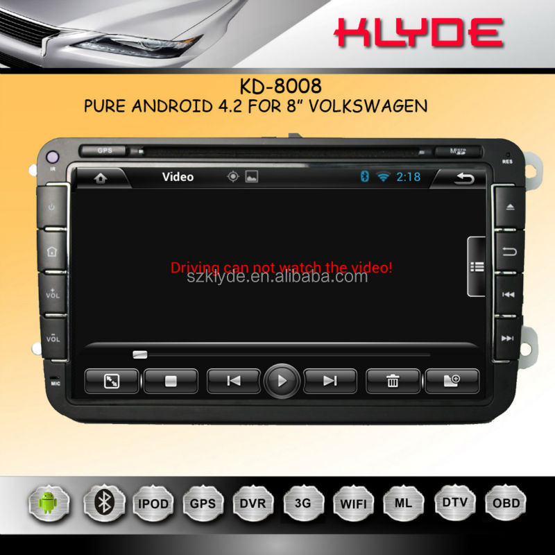 8'' Pure Android 4.2 Car DVD GPS Navigation for volkswagen car media system