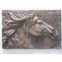 wall art decoration bronze metal relief with horses