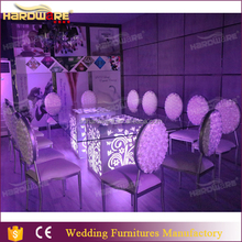 recharge led light 6 seater glass top wedding dining table