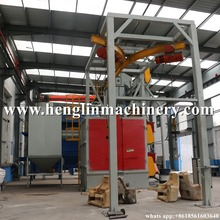 Free shiping High Efficiency Hook Type Shot Blasting Machine, spare parts rust removing peening machine
