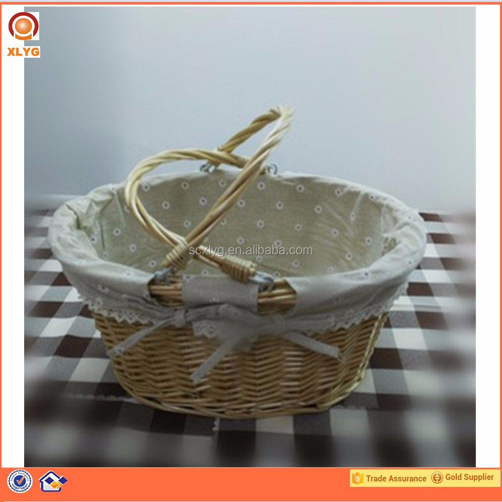 Handle hang fabric & natural wicker bread basket for food