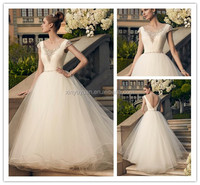 Manufacture wholesale delicate crystals beaded cap sleeve wedding dress DM-001 Ruching slim bodice new model 2016 wedding dress