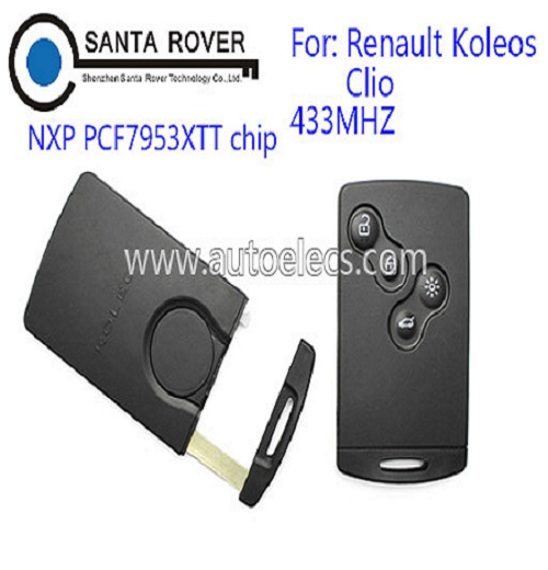 Car key for Renault Koleos Clio 4 button Smart Key Card PCF7953 Laser Blade 433Mhz