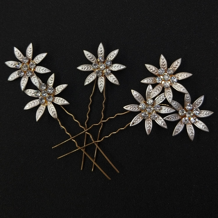 3pcs set Women Hair Clip Floral With Rhinestone Hair Pins Wedding Hair Jewelry Girls Hairpin Stick Flower Bridal Headpiece