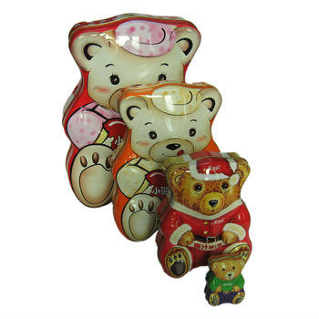 Bear shape tin box
