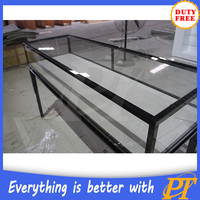 Factory outlet glass jewelry display counter/metal counter for jewelry display
