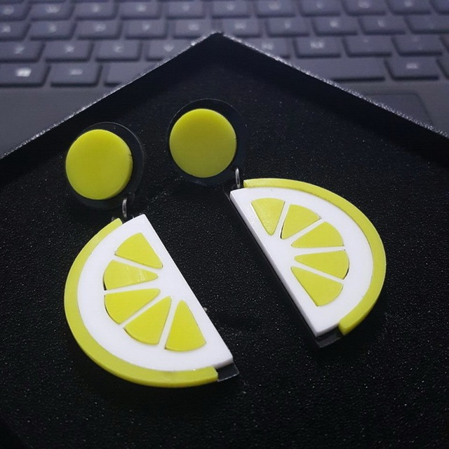 Punk Acrylic Fashion Fruit Lemon Stud Earrings For Women Night Club Ear Jewelry Hip Hop