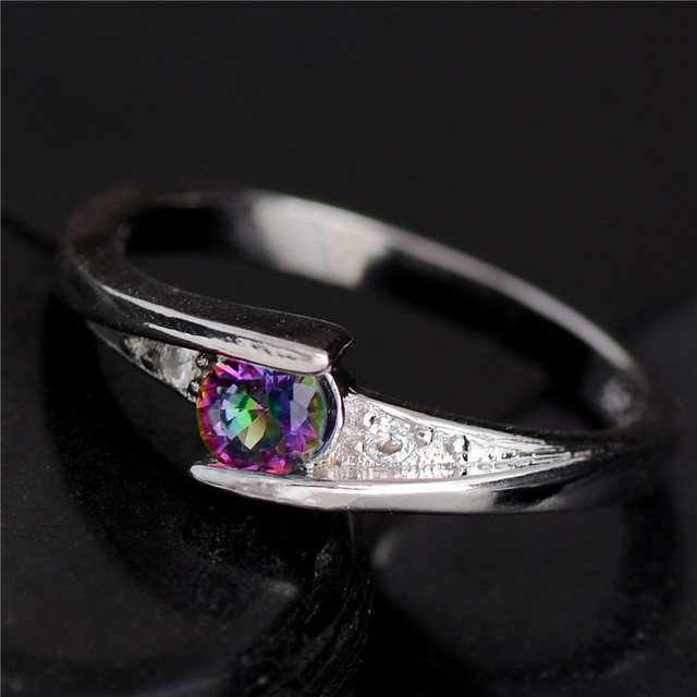 Promotion Cheap!!! Hot 1pc Silver Fine Jewelry Colorful CZ Fabulous For Women Bridal Wedding Ring Size 6-10