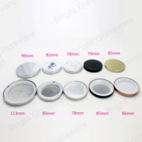 China supplier wholesale customized sizes embossed candle holder glass jars metal lids silver metal lid