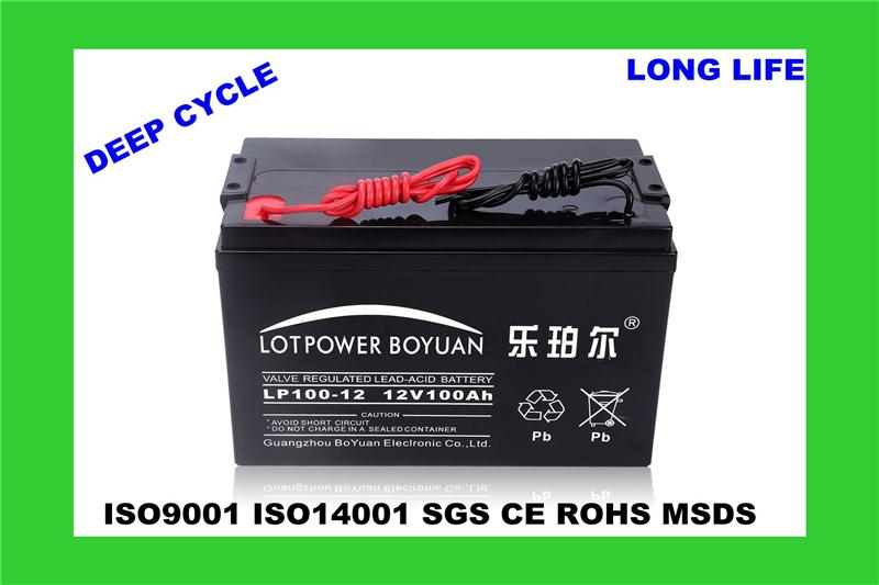 charging battery long life time charge controller battery LP100-12 6v rechargable lighting battery china factory
