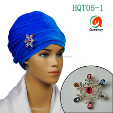 HQT05 Queency Fashion Islamic Muslim Women Velvet Turban with Multi Designs Crystal Jewelry Brooch for Nigeria Gele Headtie