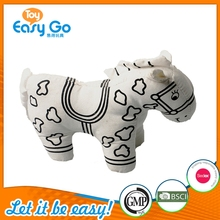 Hot Sale Super Smooth Cloth Plush Horse Toy Embroidery Printing Pattern