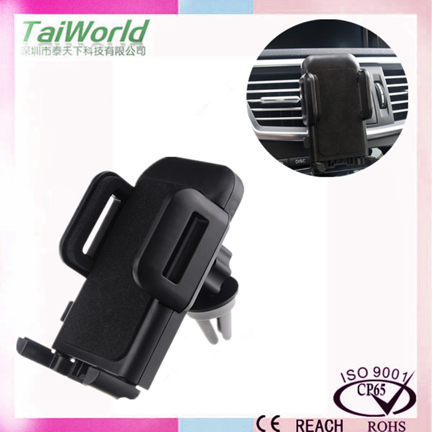 Top quality air vent mobile phone car holder with sponge finish (clip based, not magnetic)