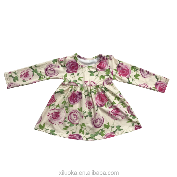 2017 New Style Baby Dress Flower Printer Dress Cotton Long Sleeve Baby Dress