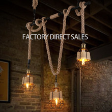 Loft light American industrial Creative hemp water pipes vintage pendant light