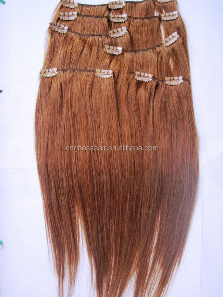 very Beauty women chestnut brown color long straight virgin Italy clip in human hair extensions