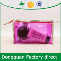 fashion transparent purple PVC cosmetic bag travelling makeup bag with zipper