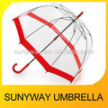 Dome Shape Umbrella Clear Plastic With Red Edging