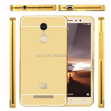 2 in 1 Electroplating Mirror back Aluminum metal bumper mobile phone case cover for xiaomi redmi note 3
