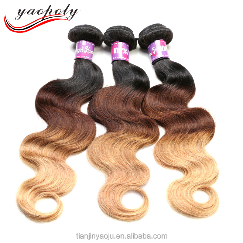 xuchang factory ombre 1B/4/27 color human hair for medium length hair body wave style