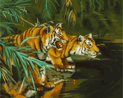 GX8468-40*50 canvas oil paint by numbers of tigers image for decor