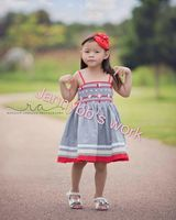 2016 children frock designs hand embroidery spaghetti strap well dressed wolf remake dress
