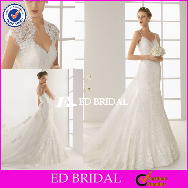 XL443 2014 made to measure cap sleeve spaghetti straps detachable train wedding dresses with long trains
