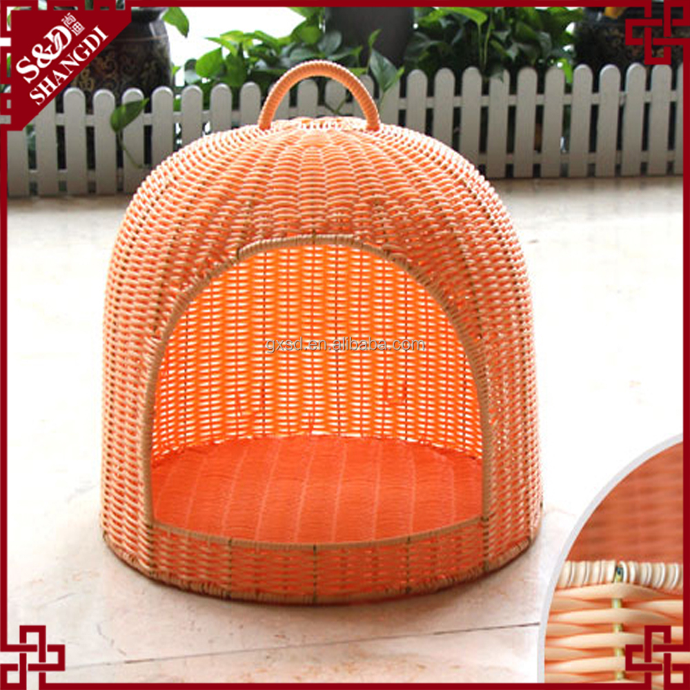 Luxury design wholesale rattan wicker carry cat house dog pet bed basket