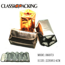 Promotional multi pocket combined practical metal color folding pack cosmetic bag travel