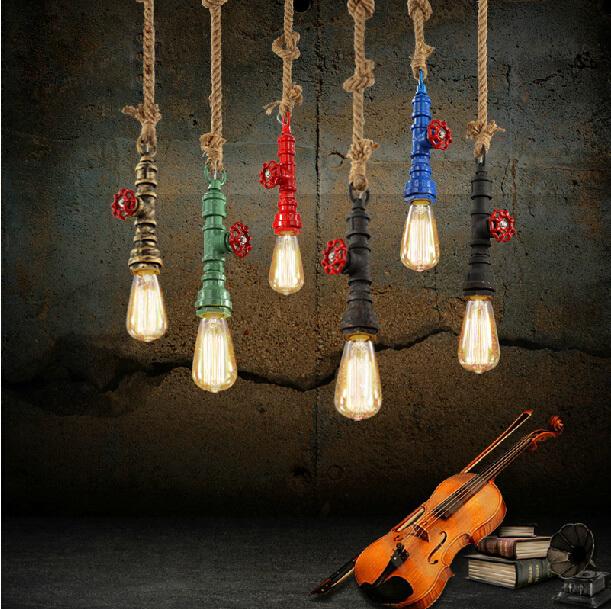 E27 Ceiling Decorative Metal pendant luminaire with linen thread