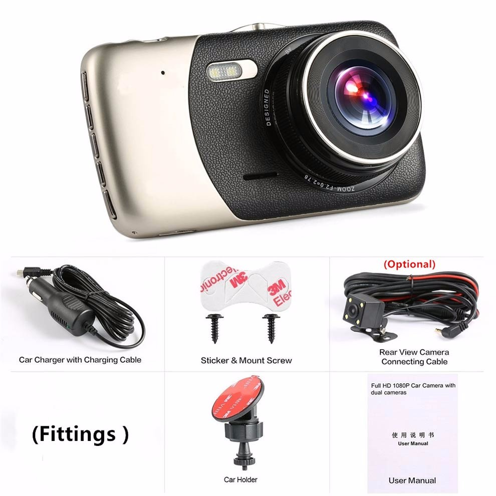 Full HD 1080 P Double Caméra dash cam Avec 4 pouce HD Affichage et Retour Caméra