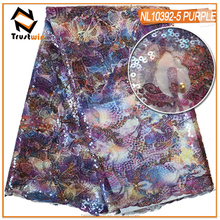 Hot style tulle lace fabric with colorful digital printing fabric