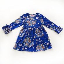 New arrival wholesale flower pattern icing ruffle children girl dress