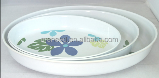 Unbreakable 10-14inch melamine full set plastic round serving tray