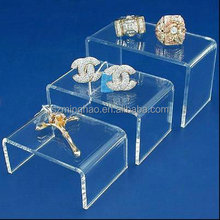 3 tiers multi-function clear acrylic jewelry display stand nested risers