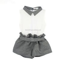 Bulk wholesale kids clothes in China sleeveless tops and shorts 2 piece sets