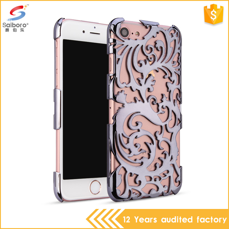 Hollow out flower pattern plastic hard cover case for iPhone 7 electroplating case