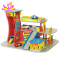 Funny parking lot wooden toy car garage for kids W04C001