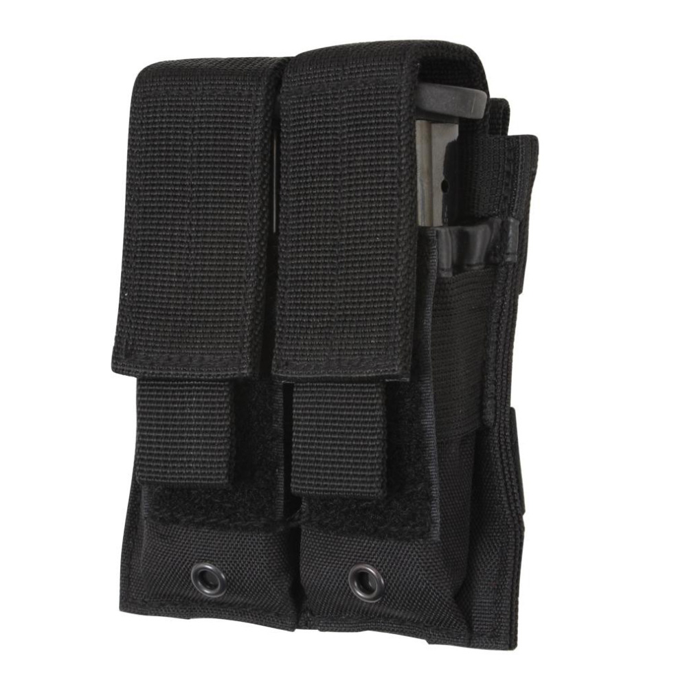 Tactical MOLLE Double Pistol Magazine Pouch with Hook and Loop Top