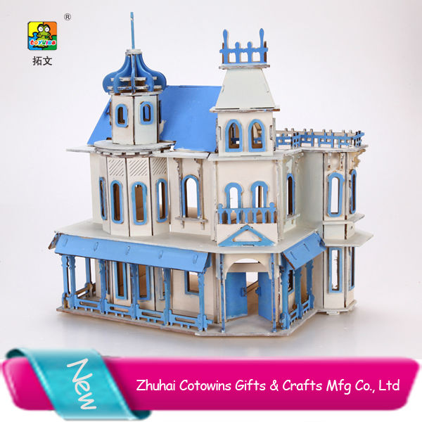 Towins children model toy 3d puzzle removable fairyland wood prefabricated luxury house