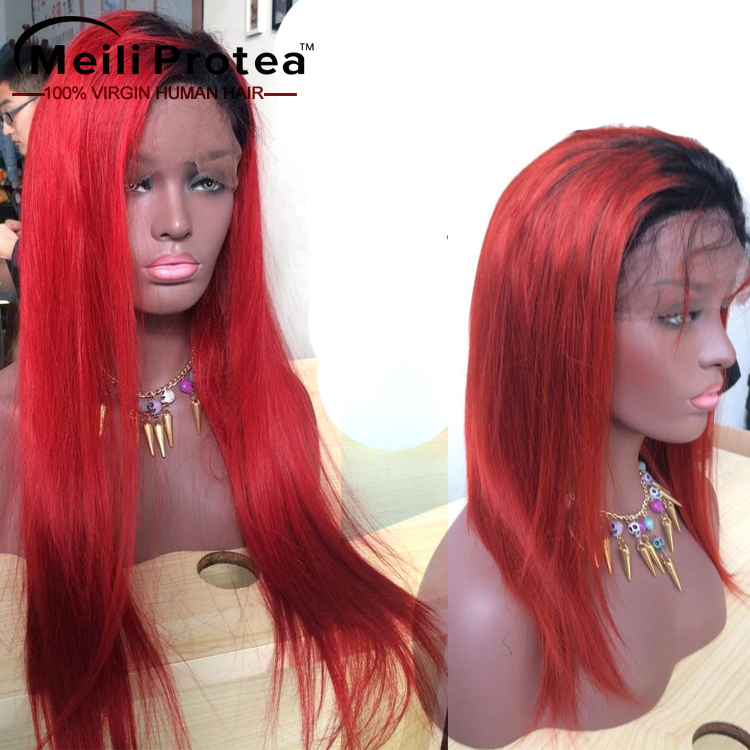 21 Years Hair Factory beauty hair, brazilian full lace red human hair red wig