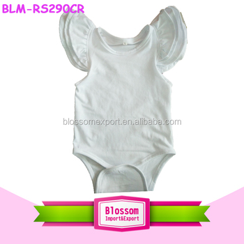 Summer Flutter Sleeve Romper Baby Toddler White Blank Onesie Fairy Wing Kids Bodysuit Boutique Flutter Sleeve Jumpsuit